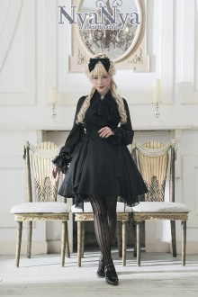 Black NyaNya To Lenore Original Slim Chiffon Gothic Lolita OP Dress
