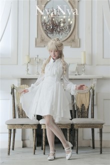 White NyaNya To Lenore Original Slim Gothic Lolita OP Dress