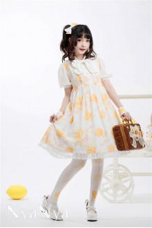 NyaNya Lemon Planet Printing Short Sleeves High Waist Chiffon Sweet Lolita OP Dress