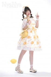 NyaNya Lemon Planet Printing Chiffon Sweet Lolita Suspender JSK Dress