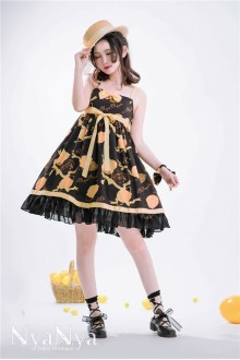 NyaNya Lemon Planet Printing Little High Waist Chiffon Sweet Lolita Suspender JSK Dress