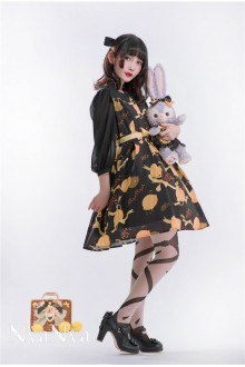 NyaNya Lemon Planet Printing Half Sleeves Chiffon Sweet Lolita OP Dress