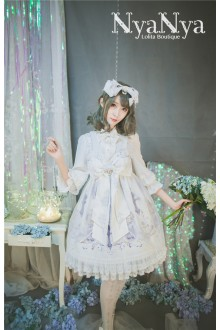 NyaNya North Cross Stars Bowknot High Waist Sweet Lolita Suspender JSK Dress
