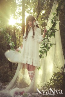 NyaNya Water Nymph Rusalka Chiffon Half Sleeves Sweet Lolita OP Dress