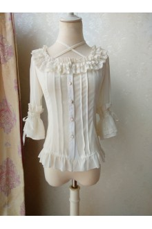 Original Bandage Suared Necklines Chiffon Lolita Blouse 3 Colors