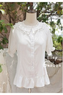 White Double-deck Lotus Leaf Round Collar Short Sleeve Chiffon Lace Lolita Blouse
