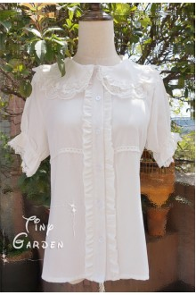 White Lotus Leaf Doll Collar Short Sleeves Chiffon Lace Lolita Blouse