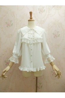 Gorgeous Lace Doll Collar Three Quarter Sleeve Lolita Blouse 3 Colors
