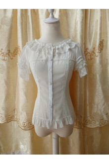 Original Princess Slim Short Sleeved Chiffon Lace Lolita Blouse 3 Colors