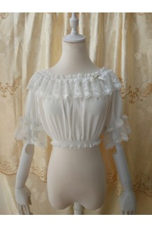 Original Summer Half Sleeve Chiffon Lace Lolita Bottoming Blouse 3 Colors