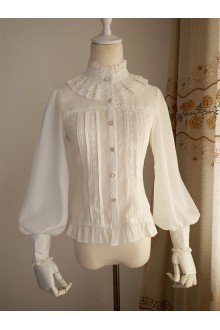 Vintage Princess Stand Collar Long Sleeved Chiffon Lace Lolita Blouse