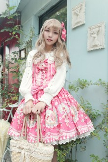 Neverland Rose Valley Strawberry Rabbit Sweet Lolita Strap JSK Dress 3 Colors