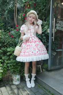 Neverland Rose Valley Strawberry Rabbit Short Sleeves Sweet Lolita OP Dress 3 Colors