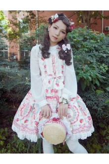 Neverland Rose Valley Strawberry Rabbit Long Sleeves Sweet Lolita OP Dress 4 Colors