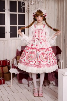 Neverland Rose Valley Strawberry Rabbit High Waist Cross Straps Sweet Lolita JSK Dress 4 Colors