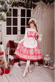 Neverland Rose Valley Strawberry Rabbit Detachable Apron Sweet Lolita JSK Dress 4 Colors