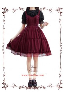 Tiny Garden Wine Waltz Elegant Bowknot Chiffon Sweet Lolita JSK Dress