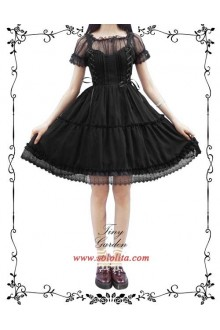 Tiny Garden Black Waltz Elegant Bowknot Chiffon Sweet Lolita JSK Dress
