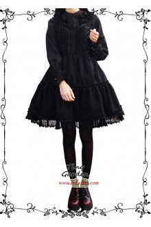 Tiny Garden Black Waltz Elegant Bow Autumn Winter Sweet Lolita Jumper JSK Dress