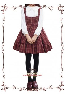 Tiny Garden Red Grid College Style Lovely Girl Sweet Lolita JSK Dress