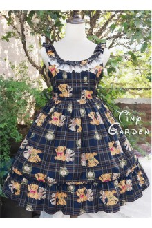Tiny Garden Cute Teddy Bear Printing Chiffon Sweet Lolita Jumper JSK Dress
