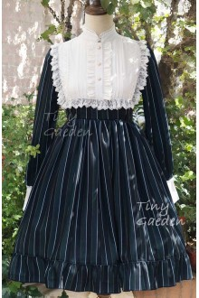 Tiny Garden Retro College Style Stripe Long Sleeves High Collar Chiffon Lace Classic Lolita OP Dress