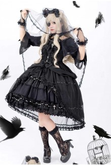 Luna Planetarium Dream Cross Gorgeous Black Gothic Lolita OP Dress