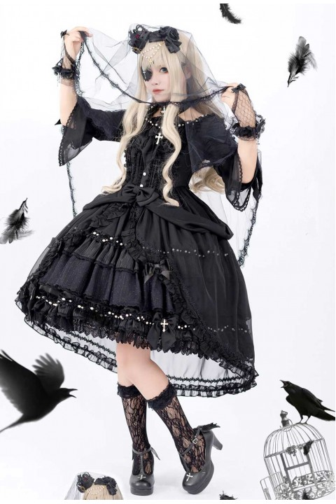 Cheap Luna Planetarium Dream Cross Gorgeous Black Gothic Lolita Op