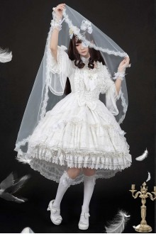 Luna Planetarium Dream Cross Gorgeous White Gothic Lolita OP Dress