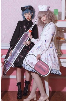 Dolly Cross Hospita Printing Long Sleeves Gothic Lolita OP Dress