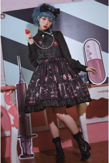 Dolly Cross Hospita Printing Sleeveless Gothic Lolita JSK Dress