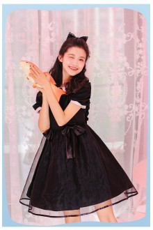 Black Ribbon Lapel Chiffon Sweet Lolita OP Dress