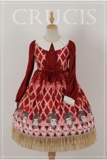 Red Four Color Doll Long Sleeves High Waist Chiffon Sweet Lolita OP Dress