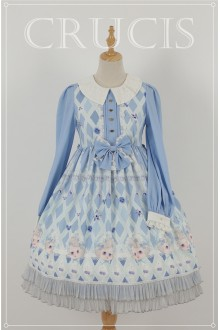 Blue Four Color Doll Long Sleeves High Waist Chiffon Sweet Lolita OP Dress