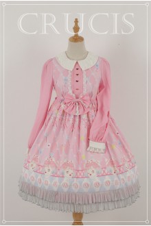 Pink Four Color Doll Long Sleeves High Waist Chiffon Sweet Lolita OP Dress