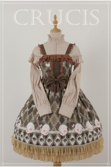 Brown Four Color Doll Chiffon Sweet Lolita JSK Dress Version 1