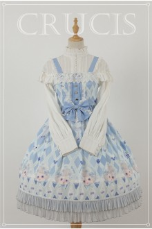 Blue Four Color Doll Chiffon Sweet Lolita JSK Dress Version 1