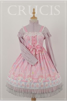 Pink Four Color Doll Chiffon Sweet Lolita JSK Dress Version 1