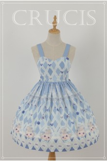 Blue Four Color Doll Chiffon Sweet Lolita JSK Dress Version 2