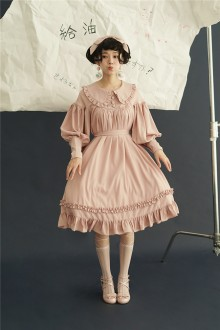 Chiffon Lapel Long Sleeves Classic Lolita Doll OP Dress 6 Colors