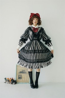 Circus Style Black and White Stripes Stand Collar Chiffon Classic Lolita Doll OP Dress