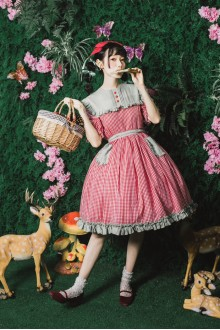 Sweet Picnic Style Red Grid Printing Sweet Lolita Dress