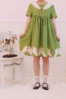 Chiffon Short Sleeves Stars Printing Sweet Sailor Lolita OP Dress
