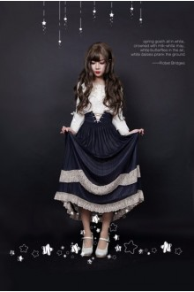 BAMBI GLITTER Lace Chiffon Long Pleated Lolita SK 5 Colors