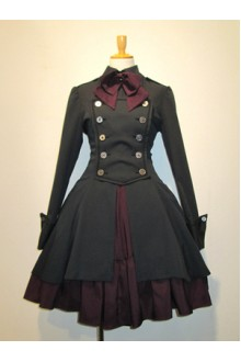 Black Slim Two-piece Stand Collar Long Sleeves Gothic Lolita Dress