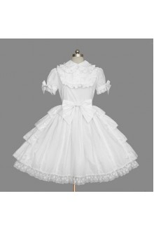 White Snow White Noble Temperament Gorgeous Lace Short Sleeves Sweet Lolita Dress