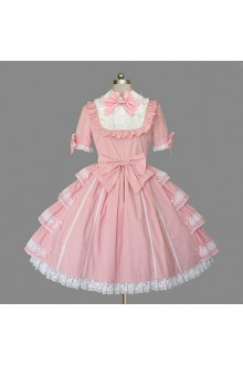 Pink Snow White Noble Temperament Gorgeous Lace Short Sleeves Sweet Lolita Dress