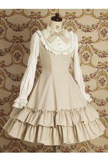 Khaki Vintage Lace College Style Long Sleeves Sweet Lolita Dress