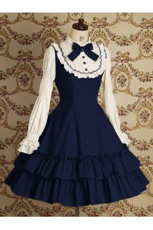 Dark Blue & White Vintage Lace College Style Long Sleeves Sweet Lolita Dress