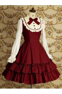 Wine & White Vintage Lace College Style Long Sleeves Sweet Lolita Dress